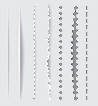 hole in paper: Vector dividers and vertical rules for design  Illustration