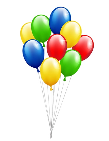 Multicolor balloons on white background Illustration