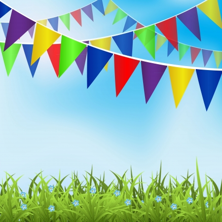 pennants: Birthday background with ballons and place for text