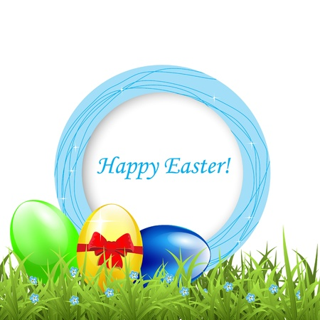 Greeting frame with easter eggs on grass photo