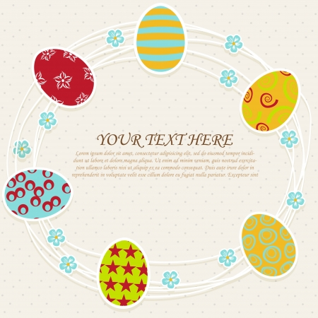 funny pictures: Vintage  postcard with  paper eggs and place text Illustration