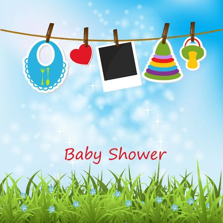 child birth: Greeting with a baby elements. Illustration