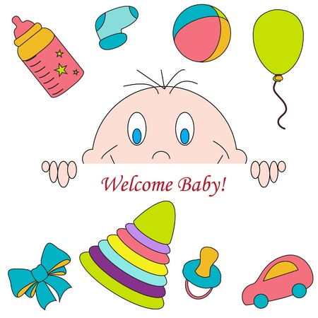 Greeting with a baby elements illustration  Vector