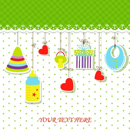 Greeting with a baby elements illustration. Illustration