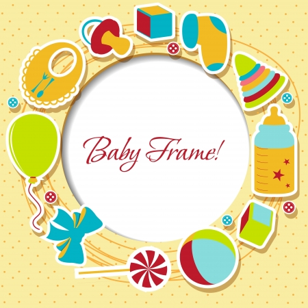 Baby arrival card with photo frame Illustration