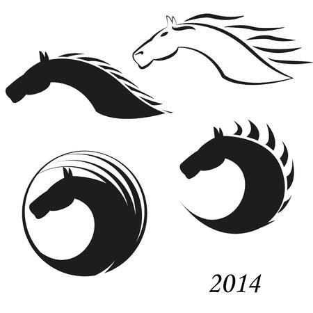 carreras de caballos: Icono de la cabeza de caballo Vectores
