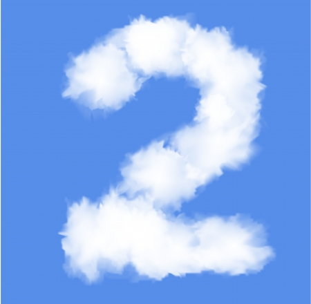 Number  two with clouds written numeral Illustration Illustration