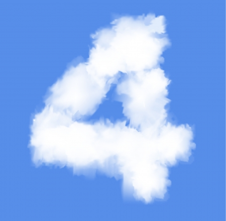 Number four with clouds written numeral Illustration