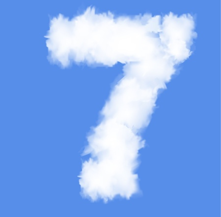Number seven with clouds written numeral Illustration