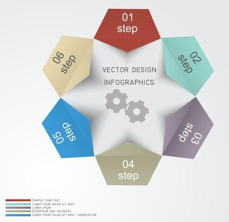 flujo de datos: Plantilla de dise�o Infograf�a con etiquetas de papel Vectores