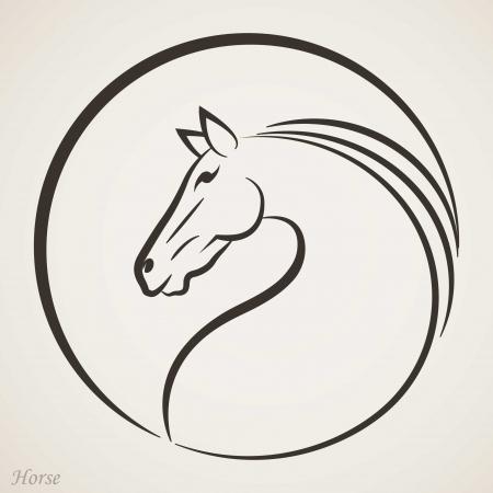 cabeza caballo: Icono de la cabeza de caballo Vectores