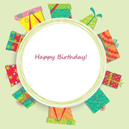 cadeau anniversaire: Carte de vecteur avec un cadeau d'anniversaire