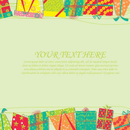 happy birthday girl: Vector card with birthday gift Illustration