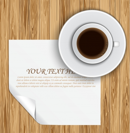 Blank paper and coffee cup on wood table Vector