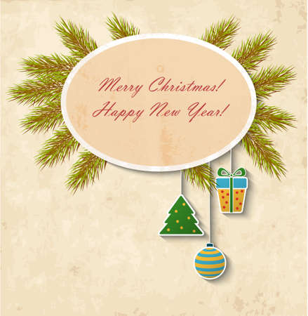 The vintage Christmas card with holiday frame Vector