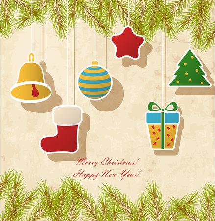 botas de navidad: Tarjeta de Navidad de la vendimia con el regalo, estrellas, bolas, campana