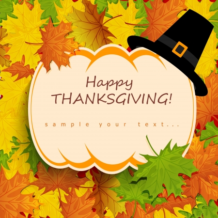 Happy Thanksgiving Card with pumpkin on autumn background Vector