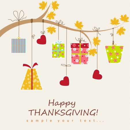 happy feast: Thanksgiving card  with box gift. Vector illustration