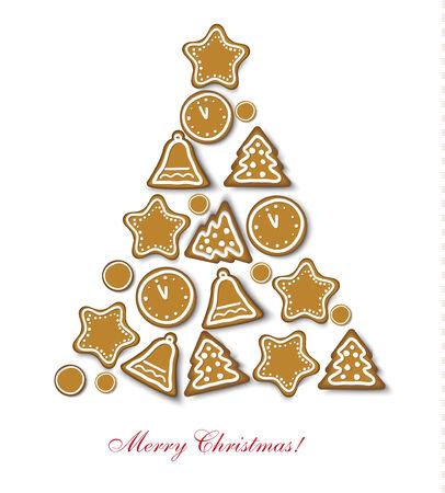 weihnachtskuchen: Lebkuchen Weihnachtsplätzchen für Weihnachtsdekoration Illustration