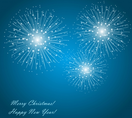 The fireworks on the blue sky background Vector