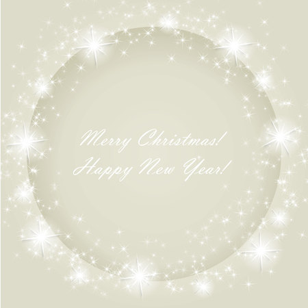 Grey Christmas frame with  stars and snowflakes. Vector