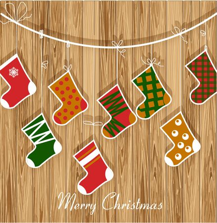 Christmas card  with boots for gifts on wood background Vector