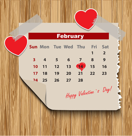 Valentines day in calendar on wood background