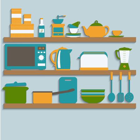 blender: Flat design illustration Kitchen utensils on shelves