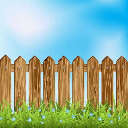 surrounding: Wooden fence and green grass.