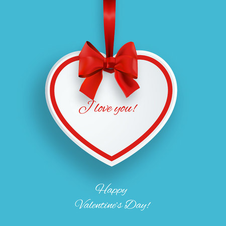 happy valentines: Valentines Day card with paper heart and bow