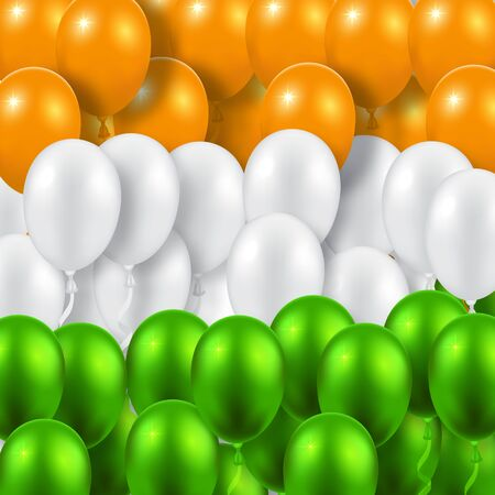 national colors: Indian Republic Day background with balloons national flag colors Illustration