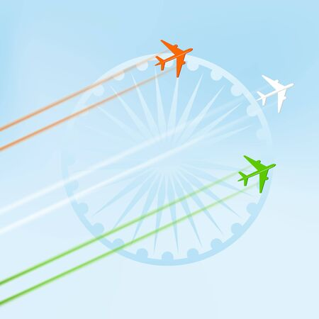 Flying plane in national tricolor with Ashoka Wheel