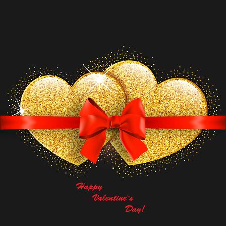 Valentines day abstract background with gold hearts