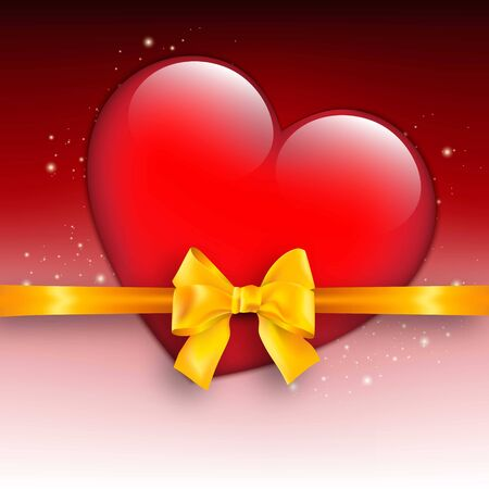 Valentines day background with red heart and bow Stock Photo