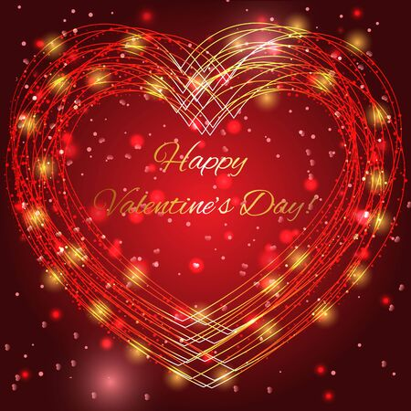 bright lights: Valentines day background with bright lights