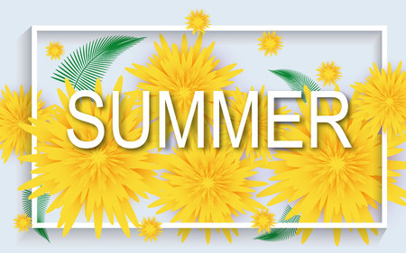 Summer background banner with beautiful flowers.