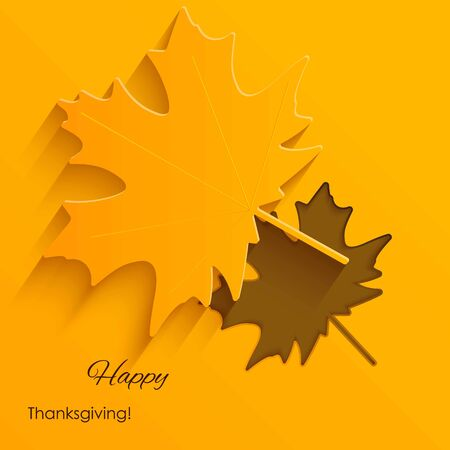 Happy Thanksgiving Card with autumn map leave