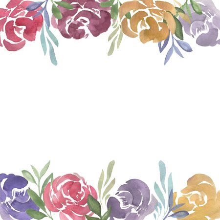 Watercolor floral frame of abstract roses and leaves. For wedding, anniversary, birthday, invitations, romantic events.