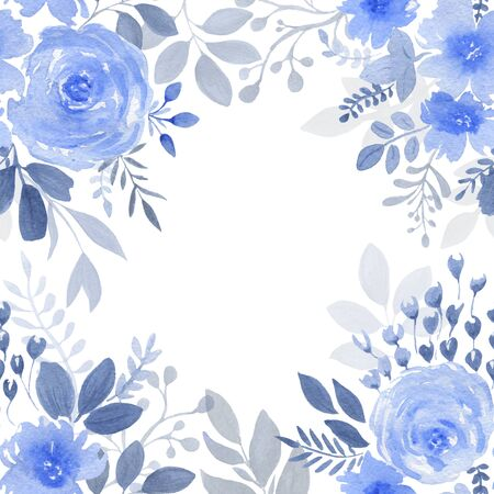 Watercolor composition of blue flowers and leaves for invitation cart