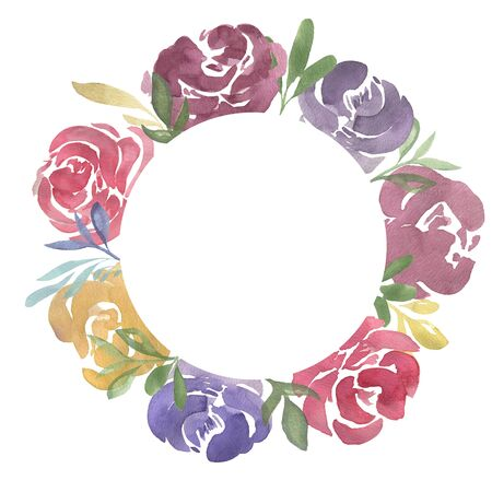 Watercolor wreath of abstract roses for greeting, invitation card