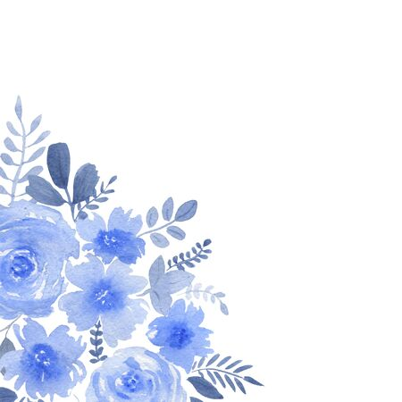 Watercolor composition of blue flowers and leaves on white background