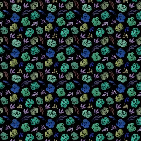 Watercolor abstract seamless pattern with roses on black background Фото со стока