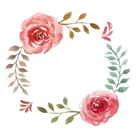 Watercolor composition of roses. Botanic oval frame for wedding or greeting card
