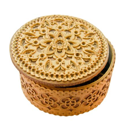 birchbark: birch-bark box with the Belarusian ornament Stock Photo