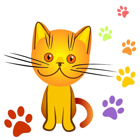 orange kitten bully made a mess in the house, everywhere traces of cat paws, an illustration on a black background Stock Vector - 8502304