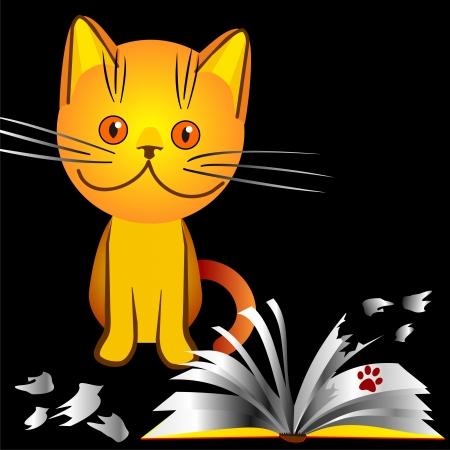 bully: gatito naranja mat�n hizo un l�o en la casa, se rompi� el libro, una ilustraci�n sobre un fondo negro Vectores