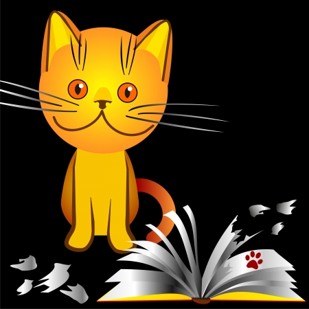 orange kitten bully made a mess in the house, broke the book, an illustration on a black background Stock Vector - 8502300