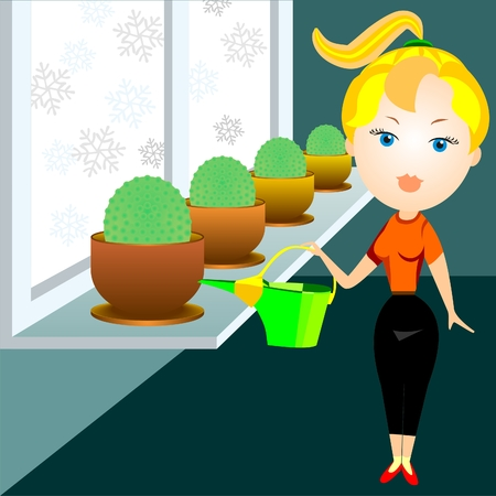 window sill: blonde woman in a red shirt and black pants watering cacti in the window Illustration