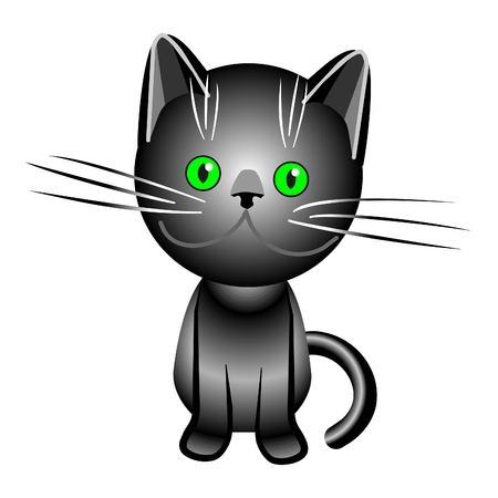 black British cat with green eyes, drawing, illustration, vector Stock Vector - 8511994