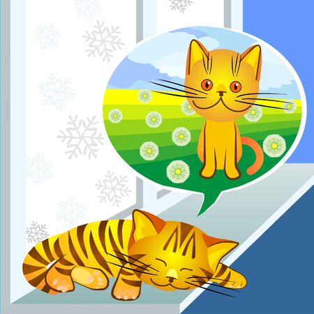 red tabby cat sleeps on the windowsill in the winter and dreaming of summer and the pussycat Stock Vector - 8567022